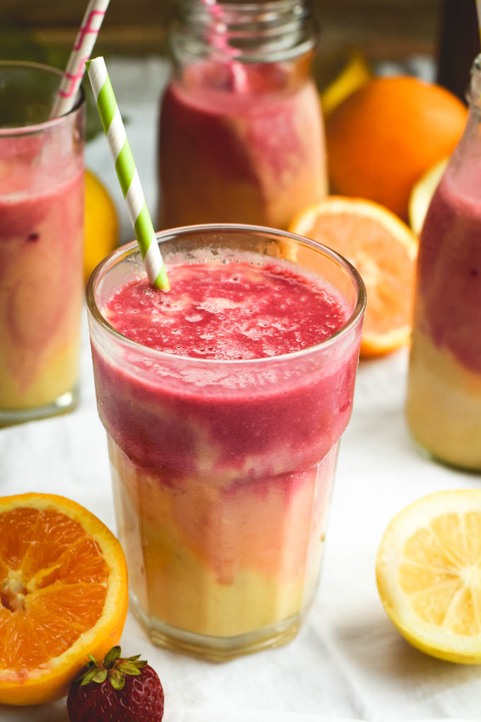 Fruit smoothies on a table